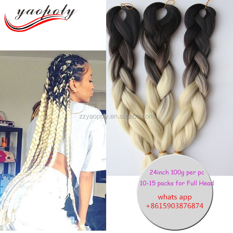 factory price ombre color jumbo braiding hair crochet synthetic hair extensions