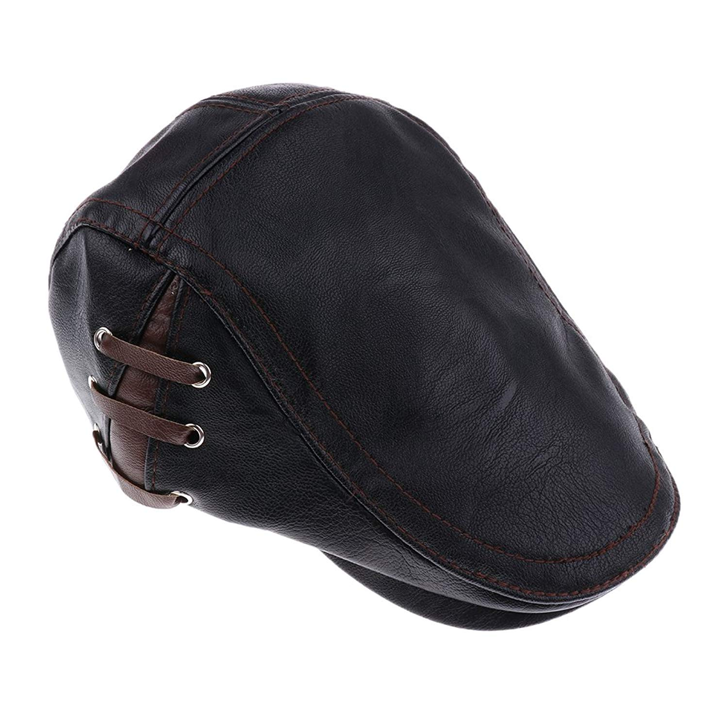 Get Quotations · Dovewill Mens Flat Cap Cabby Hat PU Leather Vintage  Adjustable newsboy Cap IVY Driving Cap 3f2244a2ac1