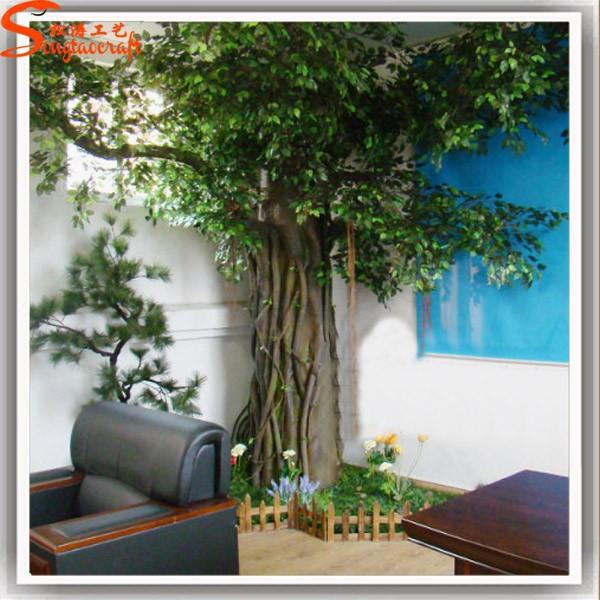 Nouveau design duba arbre artificiel trunk frais vert for Arbres en plastique artificiels