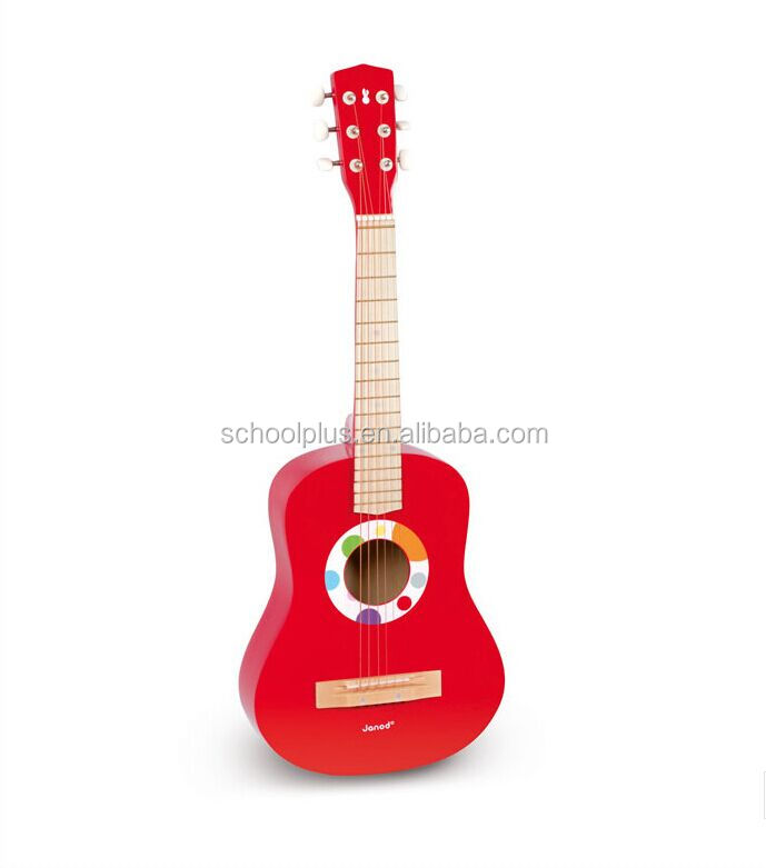 Red 21inch wooden musical instrument guitar educational toy for kids