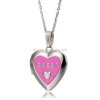 aliexpress stainless steel heart shape sweet locket pendant necklace jewelry gift for girlfriend