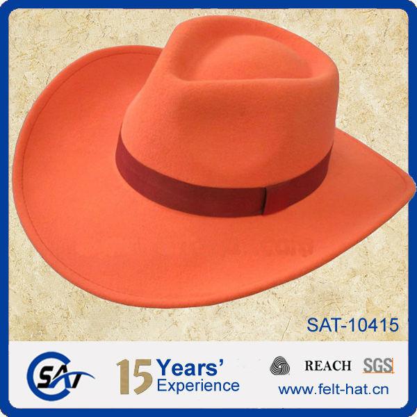 Orange Wool Felt Cowboy Hat - Buy Orange Wool Felt Cowboy Hat 049a6f2d136
