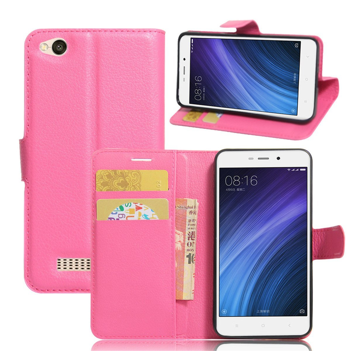 Xiaomi Redmi 4A Case,Gift_Source [Slim Fit] [Card Slot] Premium PU Leather Folio Flip Wallet Protective Case Foldable Kickstand Cover with Magnetic Closure for Xiaomi Redmi 4A 5.0 inch [Rose]