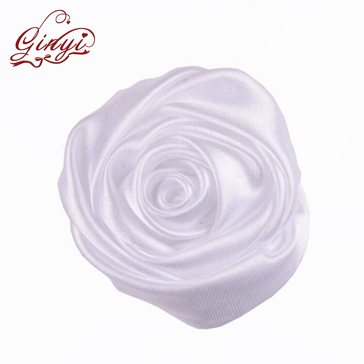 Wholesale satin fabric solid color ribbon flower Rolled Rose ribbon