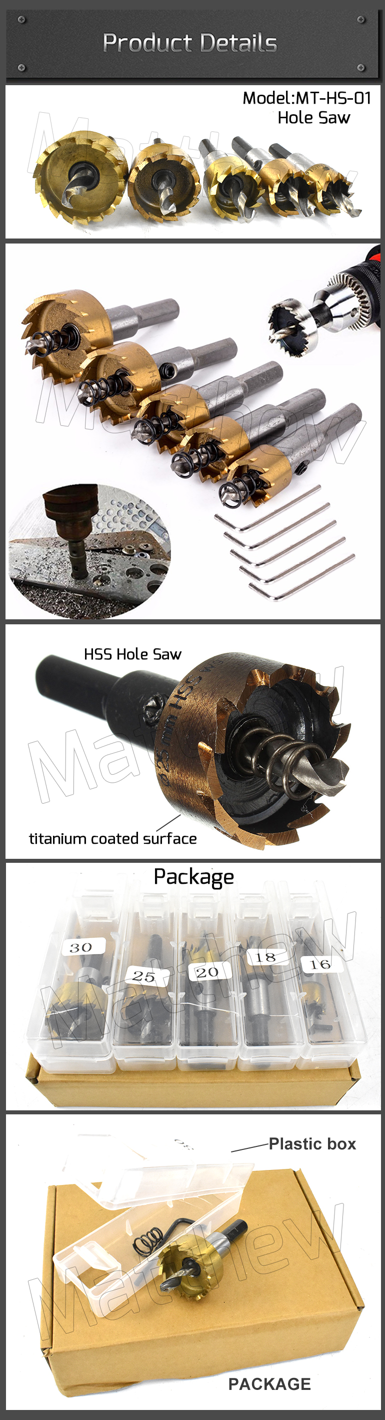 Metal Drilling Titanium Coated HSS Hole Saw with Carbide Tip
