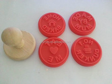 wooden handle silicone cookie custom stamp