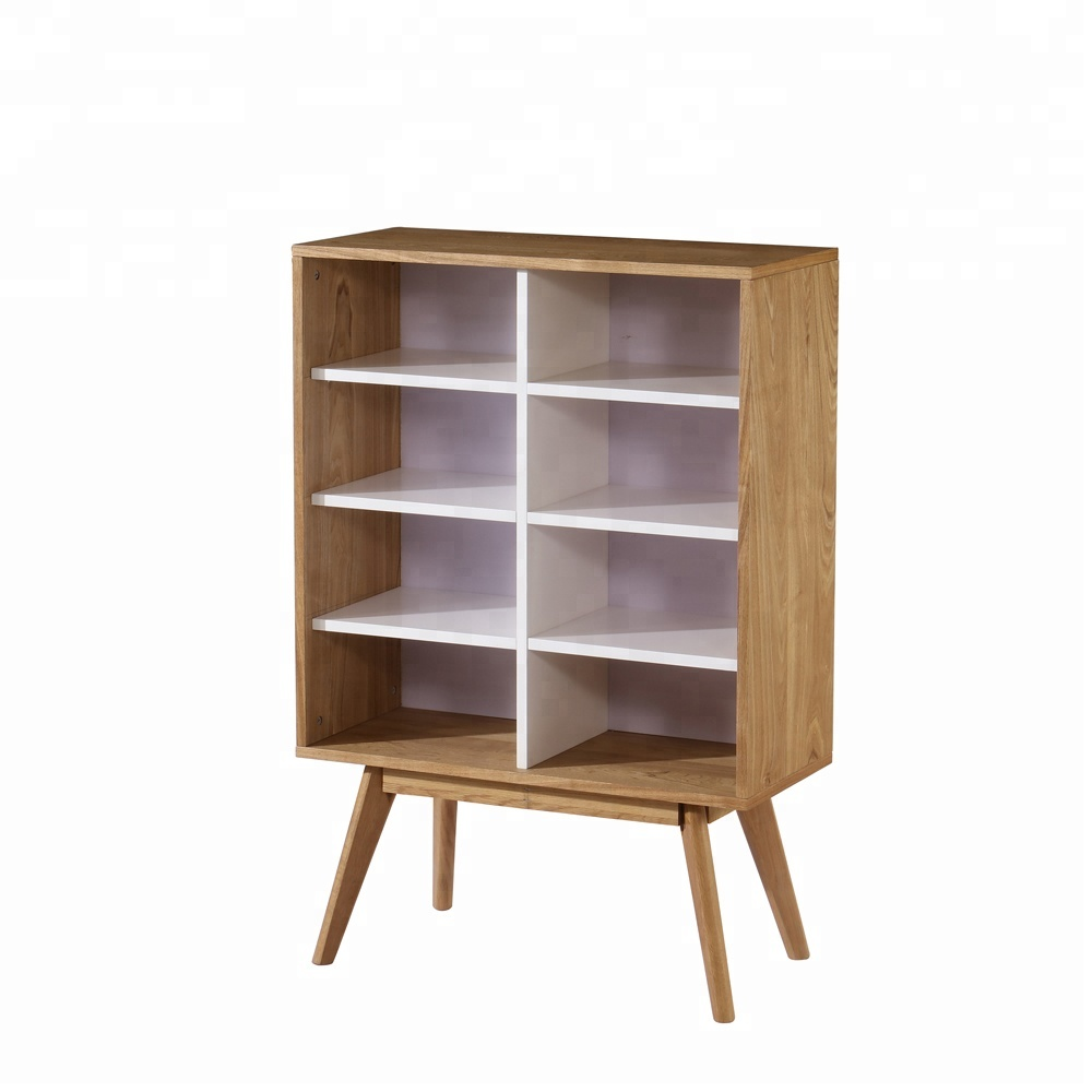 Scandinavia style modern high storage cabinet wood bookcase