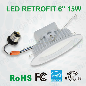 Energy Star Qualified 15w Dimmable Led Retrofit Downlights 6 Inch ...