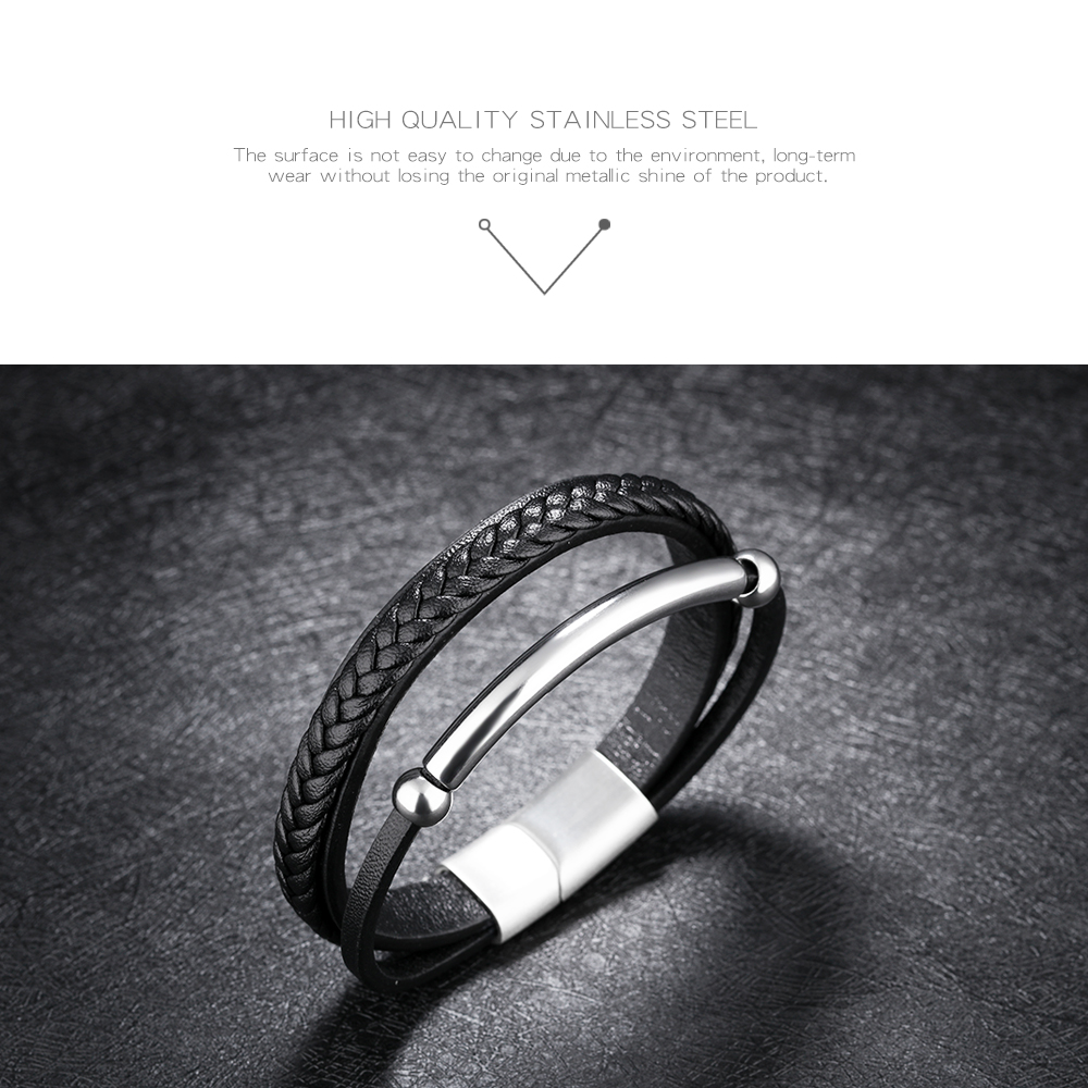Wholesale Magnetic Clasp Stainless Steel Tube Leather Bracelet High Quality