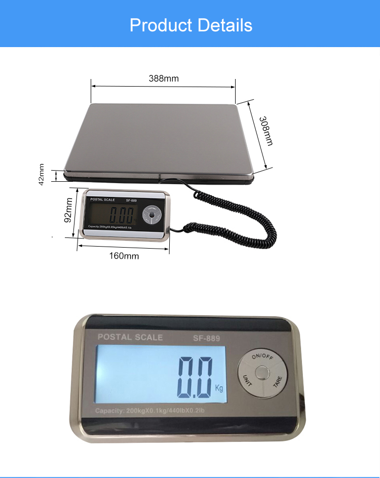 sf889 portable electronic scale lcd display Multi-capacity electronic digital postal weighing scale 200kg