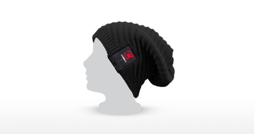 Black Fonrest Wired 3.5mm Earphone Equipped Cat Ears Devil Horn Winter Knitting Beanie with Microphone for Men Women Kids