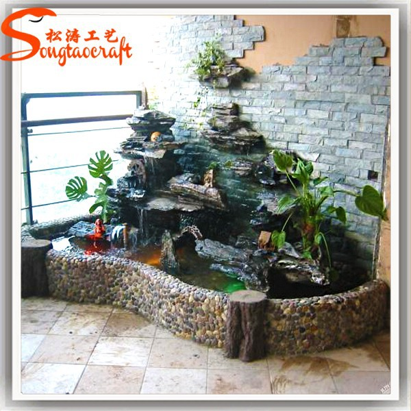 Indoor Artificial Waterfall Fountain Fiberglass Rock
