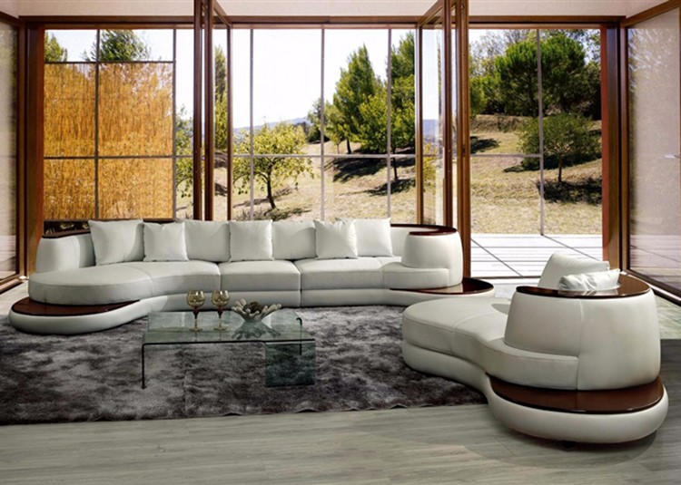 Nieuwe model set foto s wit lederen meubels woonkamer sectionele