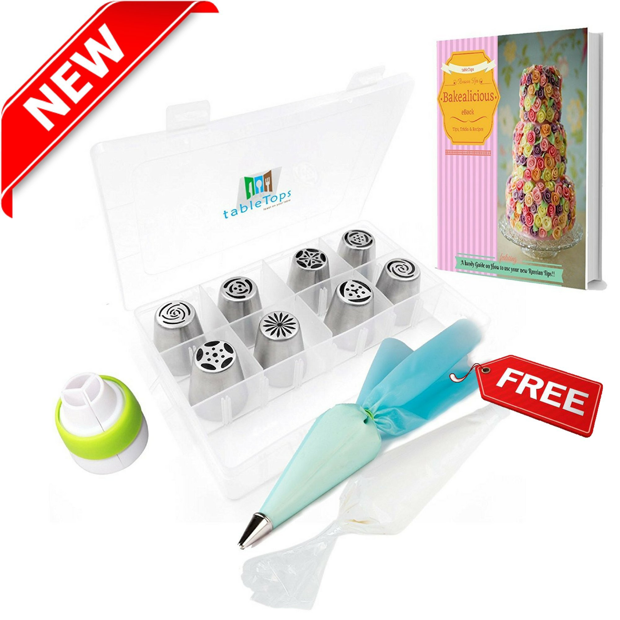LIMITED TIME OFFER-Icing Russian piping tips nozzles for cupcakes & decorating tips-BONUS x11 Decorating Bags and tips set and Coupler-Baking tips flowers for Cake Decoration Kit Set! (21 pieces)