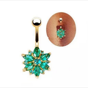 Environmental Friendly Copper Green Flower Crystal Navel Bars Gold Belly Button Ring Navel Piercing Jewelry