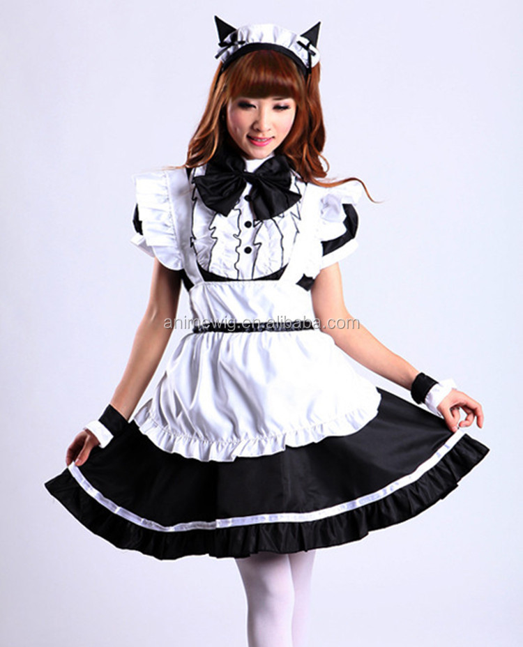 High Quality Black Lolita Skirt Sexy Dress Lolita Maid Costume Anime