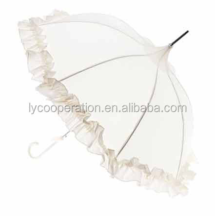 Ivory white bridal wedding umbrella lace