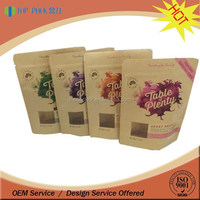 satnd up kraft paper zipper bags for fruit with transparent window
