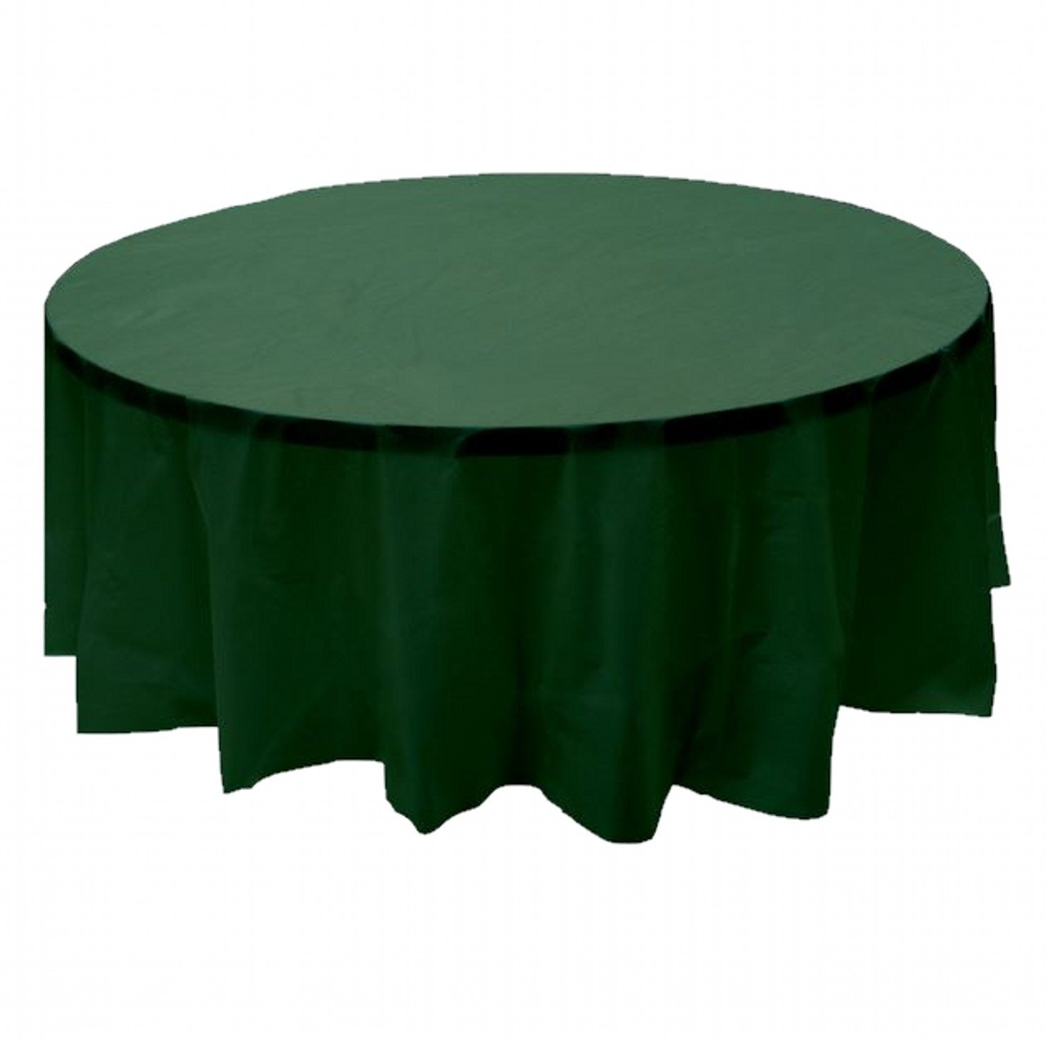 "2 Plastic Round Tablecloths 84"" Diameter Table Cover - Hunter Green"