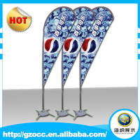 outdoor custom advertising rotating fiberglass telescopic feather wind flagpole