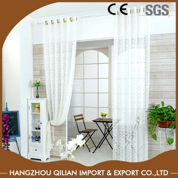 Window White Lace Curtains With Warp Knitted Jacquard Patterns
