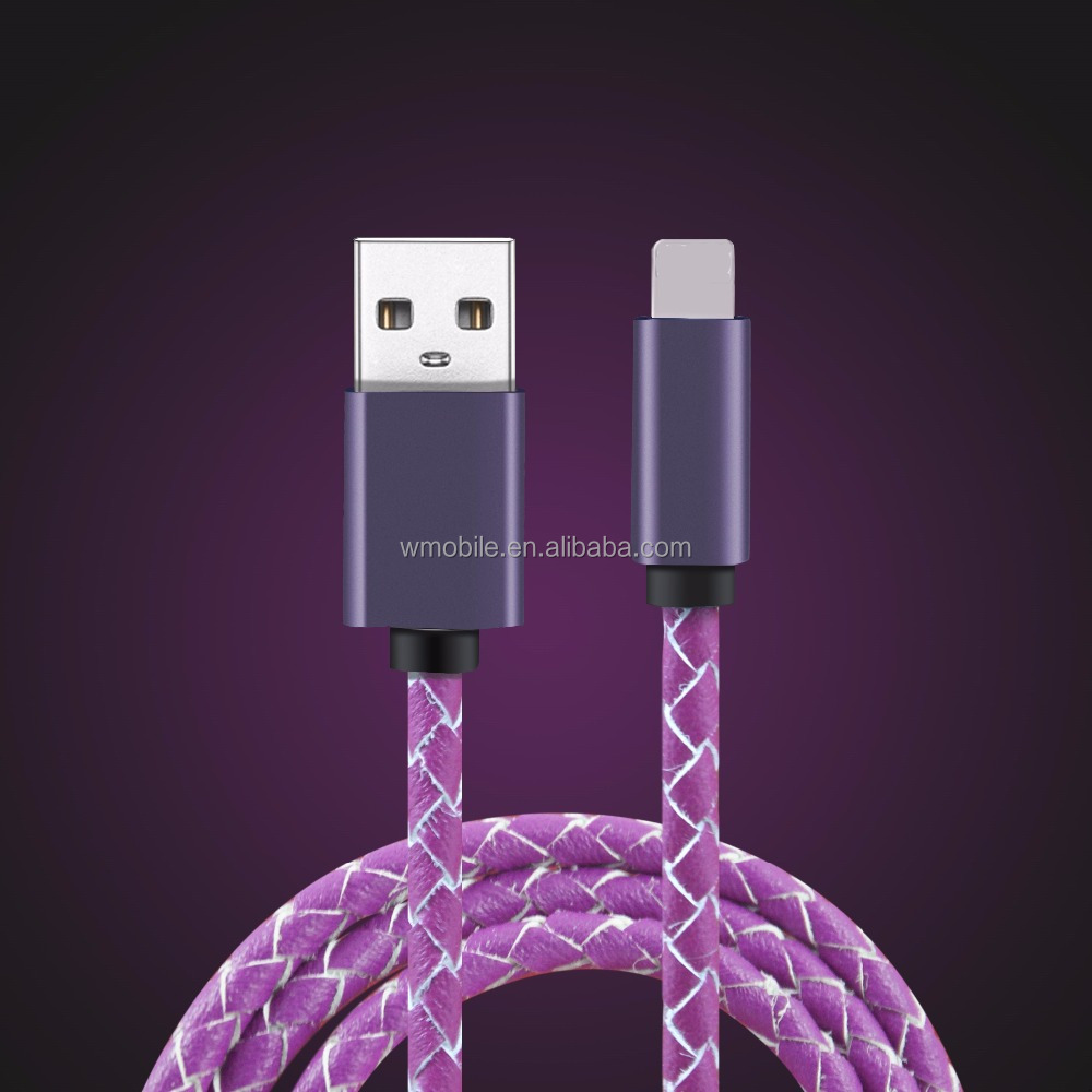 Genuine leather USB cable, Micro male with USB A male usb cable for Android/xiaomi /for Huawei phone charger cable