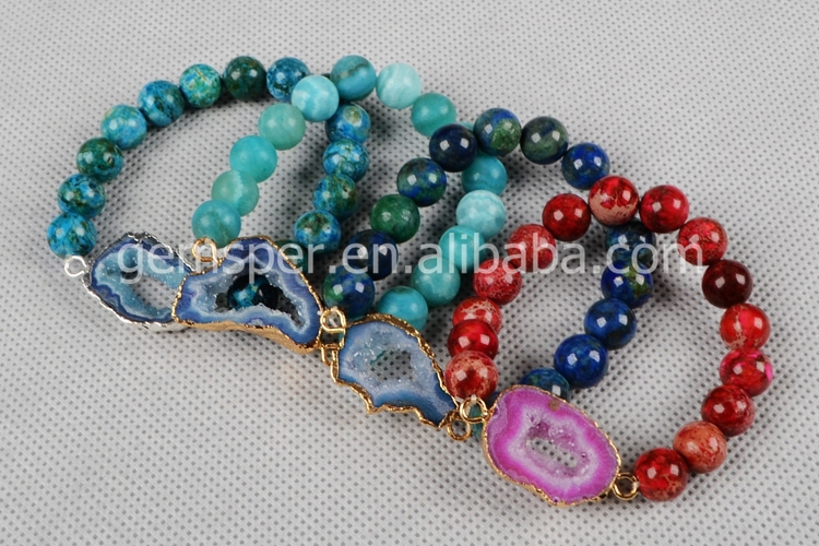 Beautiful Natural Stone Agate Bead Stretch Bracelet Jewelry With ...