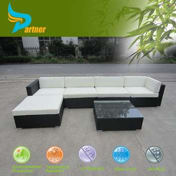 Rattan Garden Furniture L Shape 7 pieces set outdoor garden furniture modular sofa sets/rattan