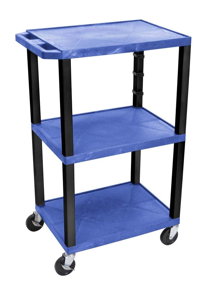 Offex Clickhere2shop Mobile Multipurpose 3-Shelves Tuffy Cart, Blue with Black Legs and Drawer (OF-WT42BUE-B)
