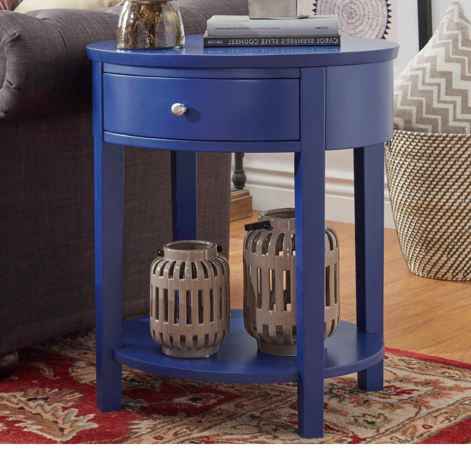 Buy Single Piece Twilight Blue 1 Drawer Oval Wood Shelf