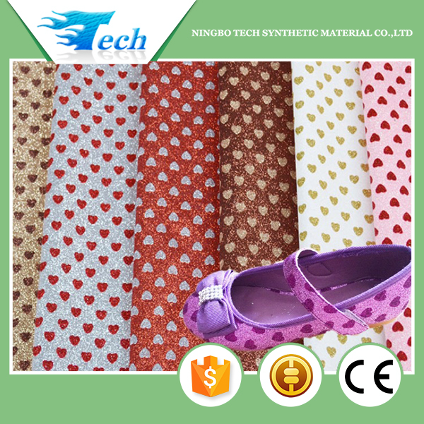 Heart design shiny pink glitter fabric for children shoes