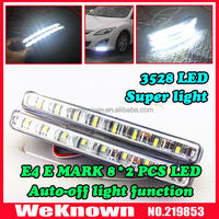 Universal 100% waterproof E MARK 16pcs 3528 LED Car DRL Driving Daytime Running Light with Automatic switch on/off