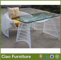 Single hotel bedroom rattan working table and chair