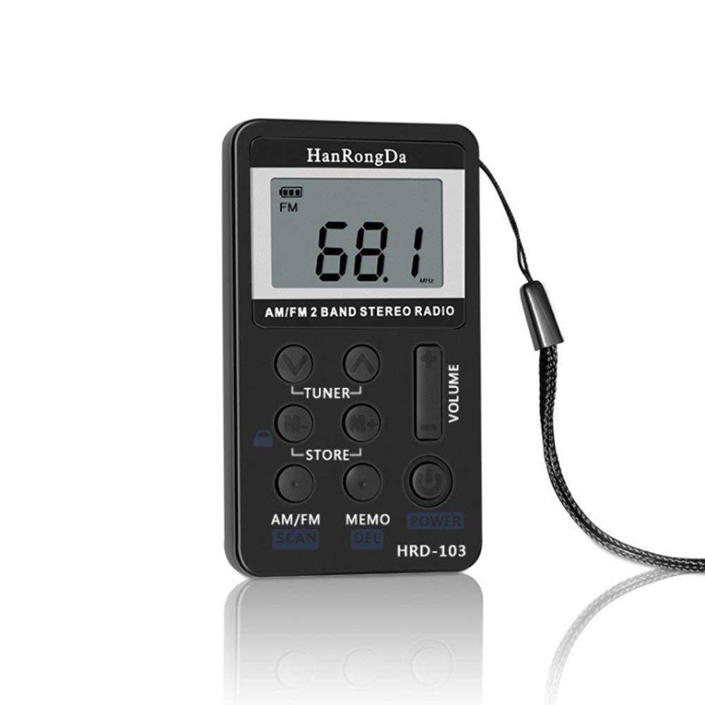 Pettstore Mini DSP Pocket Portable Digital Tuning AM / FM Stereo Radio with Earphone LCD Channel USB Charging (black)