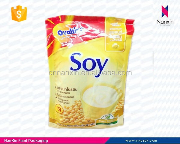plastic soy milk powder packaging stand up pouch