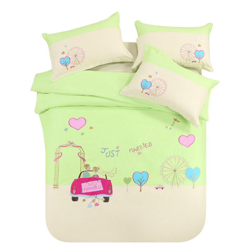Patch Embroidered Cotton Activity Kids Bedding Sets Queen,child Cartoon  Princess Bed Linen,4pcs