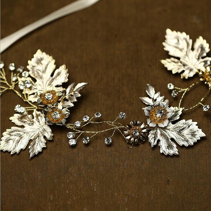 664fd613f71f AD238 fábrica nueva Chic diadema de la hoja de arce y diamantes de imitación  bosque accesorios