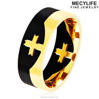 MECYLIFE Stainless Steel Two Tone IP Black Gold Puzzle Ring