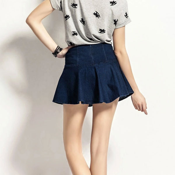 Factory Supply Stretch Sexy Denim Pleated Mini Skirt - Buy Denim ...