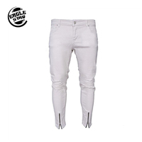 Guangzhou Fast Delivery Cheap Men's trousers with holes in zipper white jeans