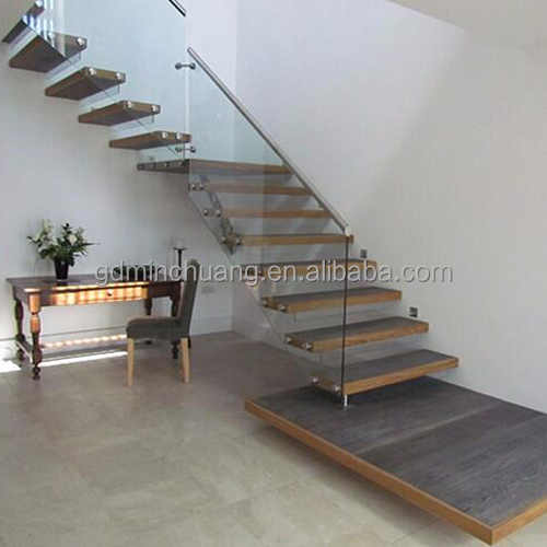 Prefab Metal Stairs Residential Laminated Tempered Glass Staircase Stairway