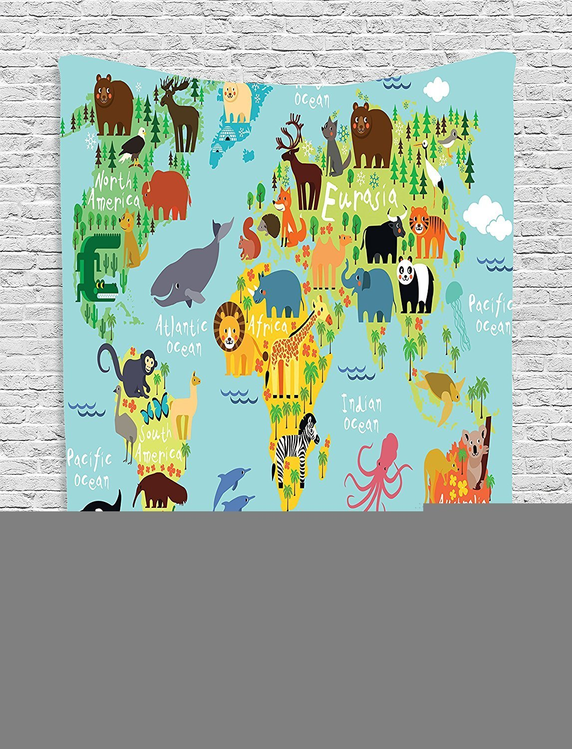 """Wanderlust Collection Animal Map of the World for Children and Kids Cartoon Mountains Forests Image Green Yellow Blue Supersoft Throw Fleece Blanket 59.05""""X78.74"""""""