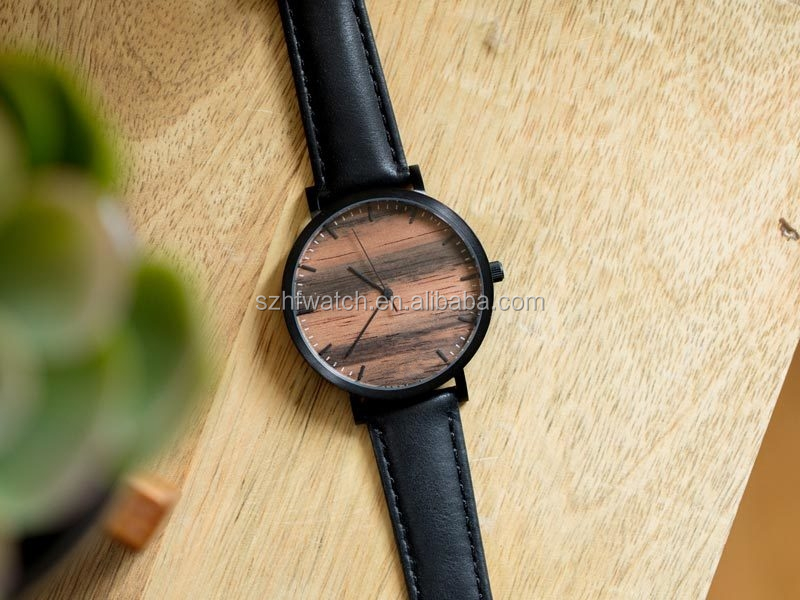 Modern Custom Wood Dial Italian Leather Bands Women Wristwatches