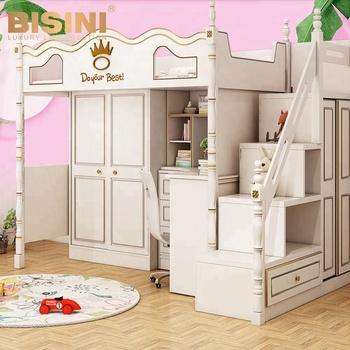 Bisini American Style Kids Combined Bed Children Wooden
