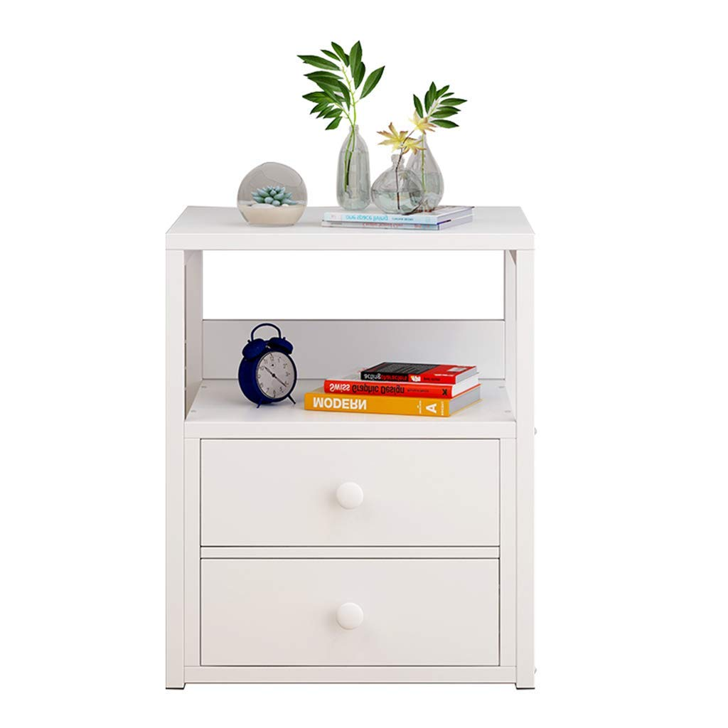 Bedside table Dressing Table Mini Storage Locker Bedroom Bedside Cabinet European Modern Small Cabinet Two Pumping (Color : White, Size : 403550cm)