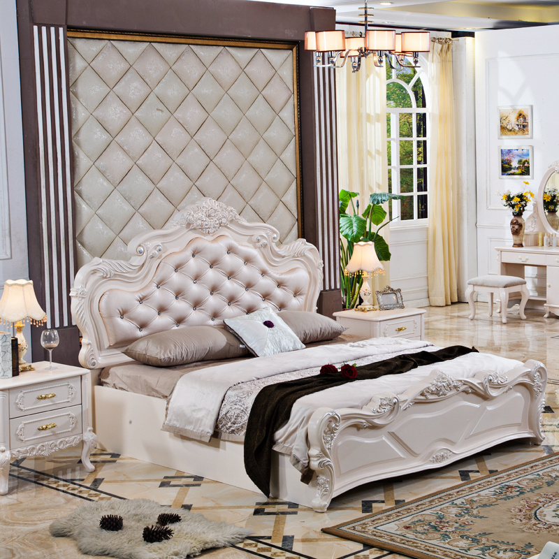 Pinkish white painted french style bedroom sets and - French style bedroom furniture sets ...