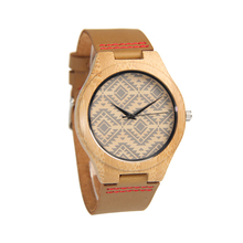 Genuine leather custom bamboo men wood watch custom logo quartz