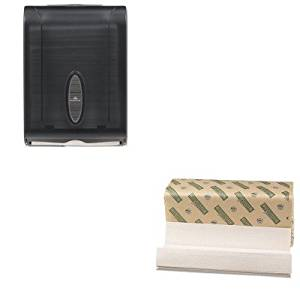 KITBWK11GREENGEP5665001 - Value Kit - Green Folded Paper Towels, C-Fold, Natural White, 10 1/8W x 13L, 2400/Carton (BWK11GREEN) and GP 566-50/01 Translucent Smoke Combination C-Fold or Multifold Paper Towel Dispenser (GEP5665001)