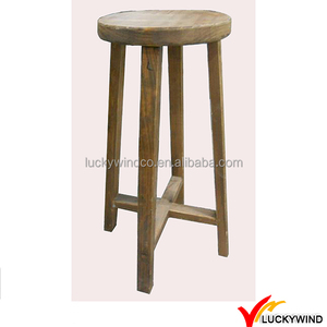 Vintage Wooden Round Bar Stool High Chair