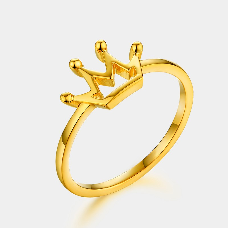 Cheap hollow royal queen princess gold plated silver crown ring wholesale